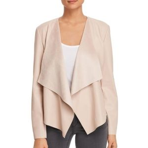 Faux Leather and Suede Jacket - Blush Pink - XL